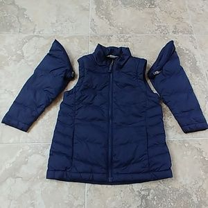 Land's End down puffer jacket, removable sleeves.
